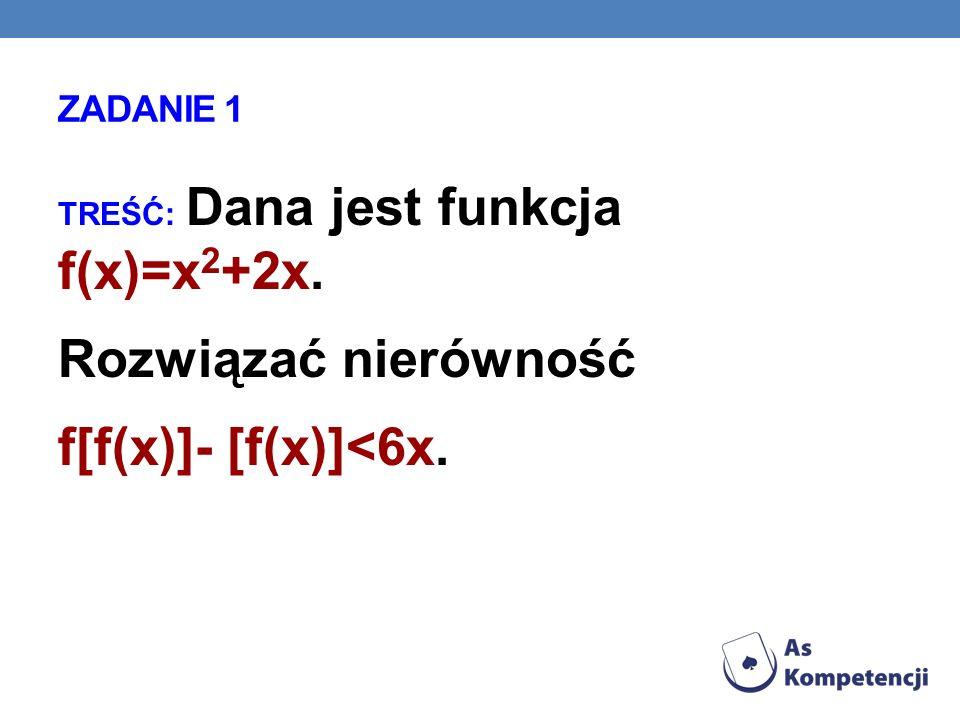 Rozwiązać nierówność f[f(x)]- [f(x)]<6x. ZADANIE 1
